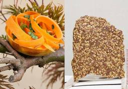 L: Gluten free and vegan tartlet; puree of curry almond with a ribbon of marinated carrots. R: Raw cracker