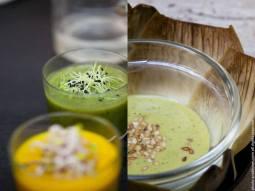Left: 2 soups, carrot curcuma and potato leek. Right: vegan mint coriander pesto with artichoke leaves