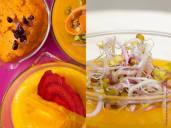 Top L: Raw red pepper pesto. Top R: Thai sweet potato soup. Bottom: Vegan orange chipotle dip R: thai sweet potato soup