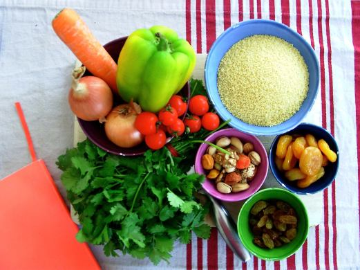 Preparations to make vegan couscous for the hubby