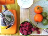 I love my manual juicer. Clementine, lemon and raspberry juice. Best snack ever!